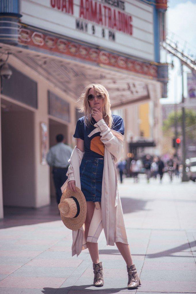 denim a-line skirt fashion blogger