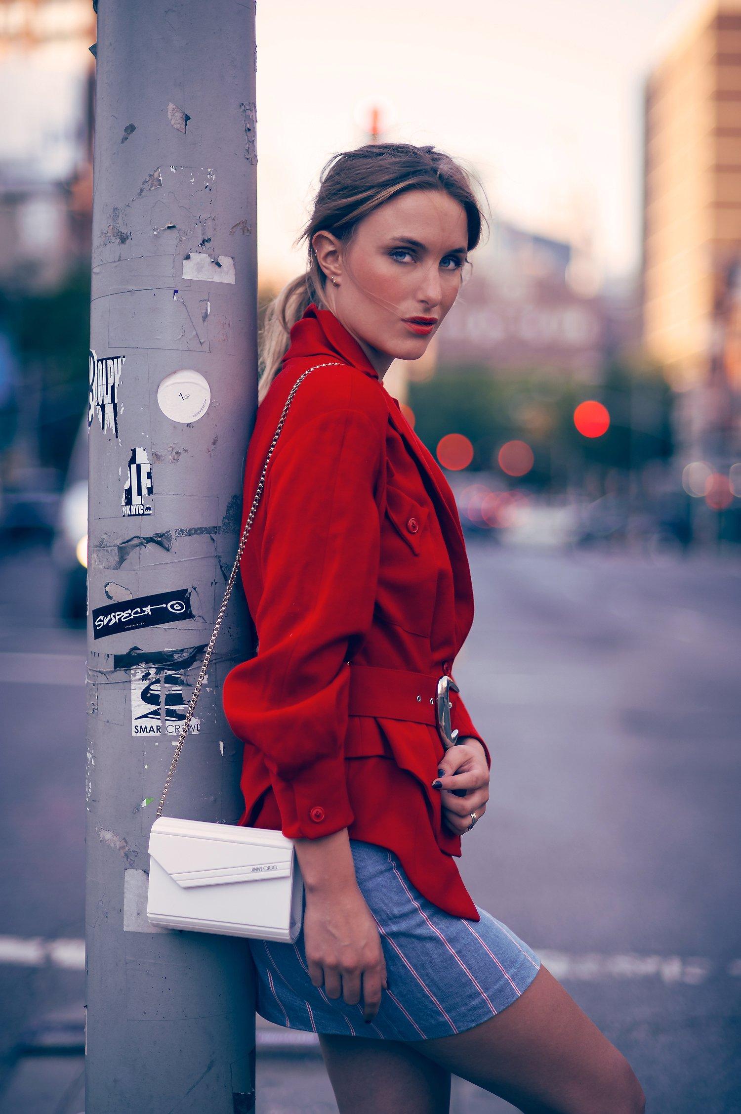 red jacket fashion blogger