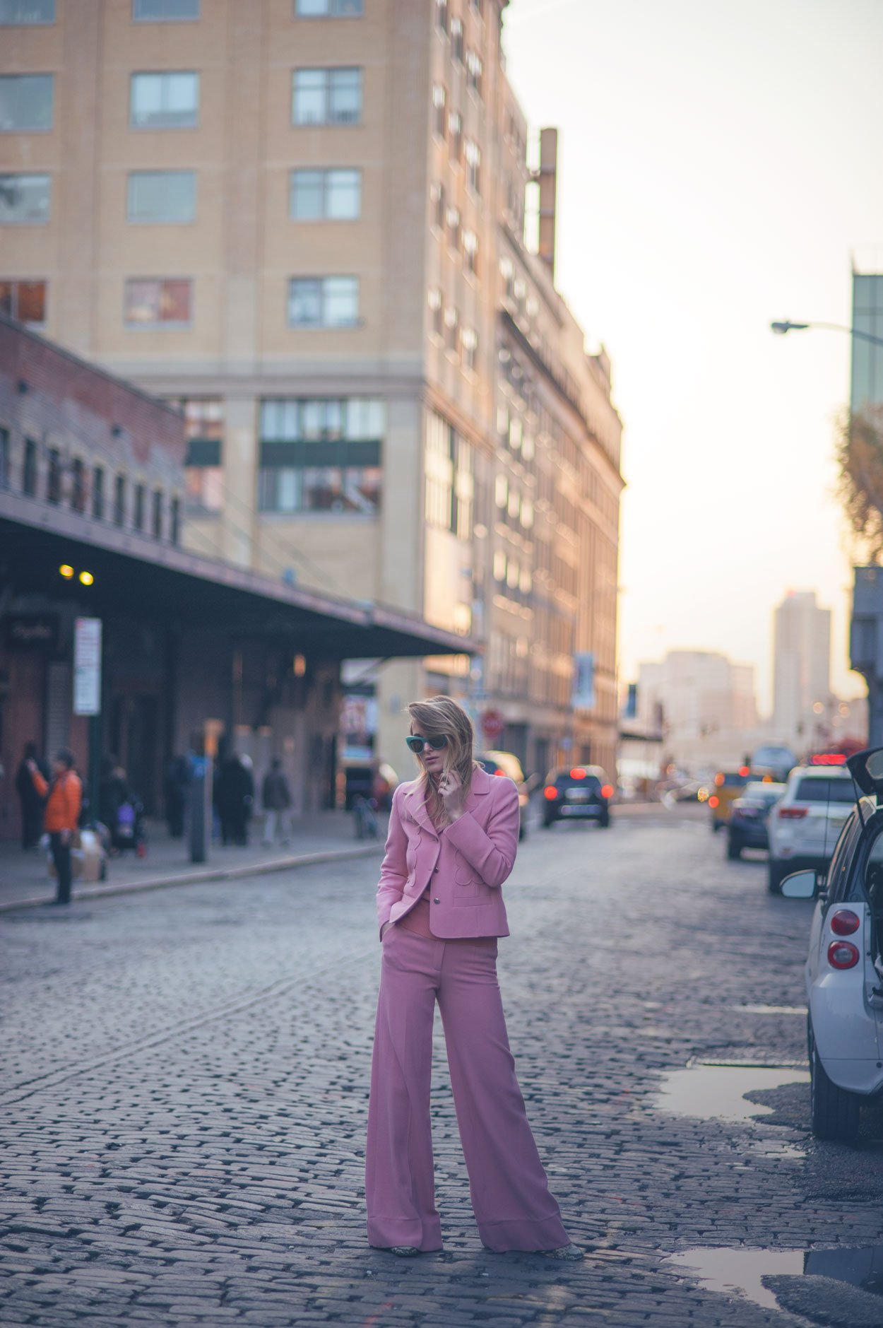 pink suit fashion blogger