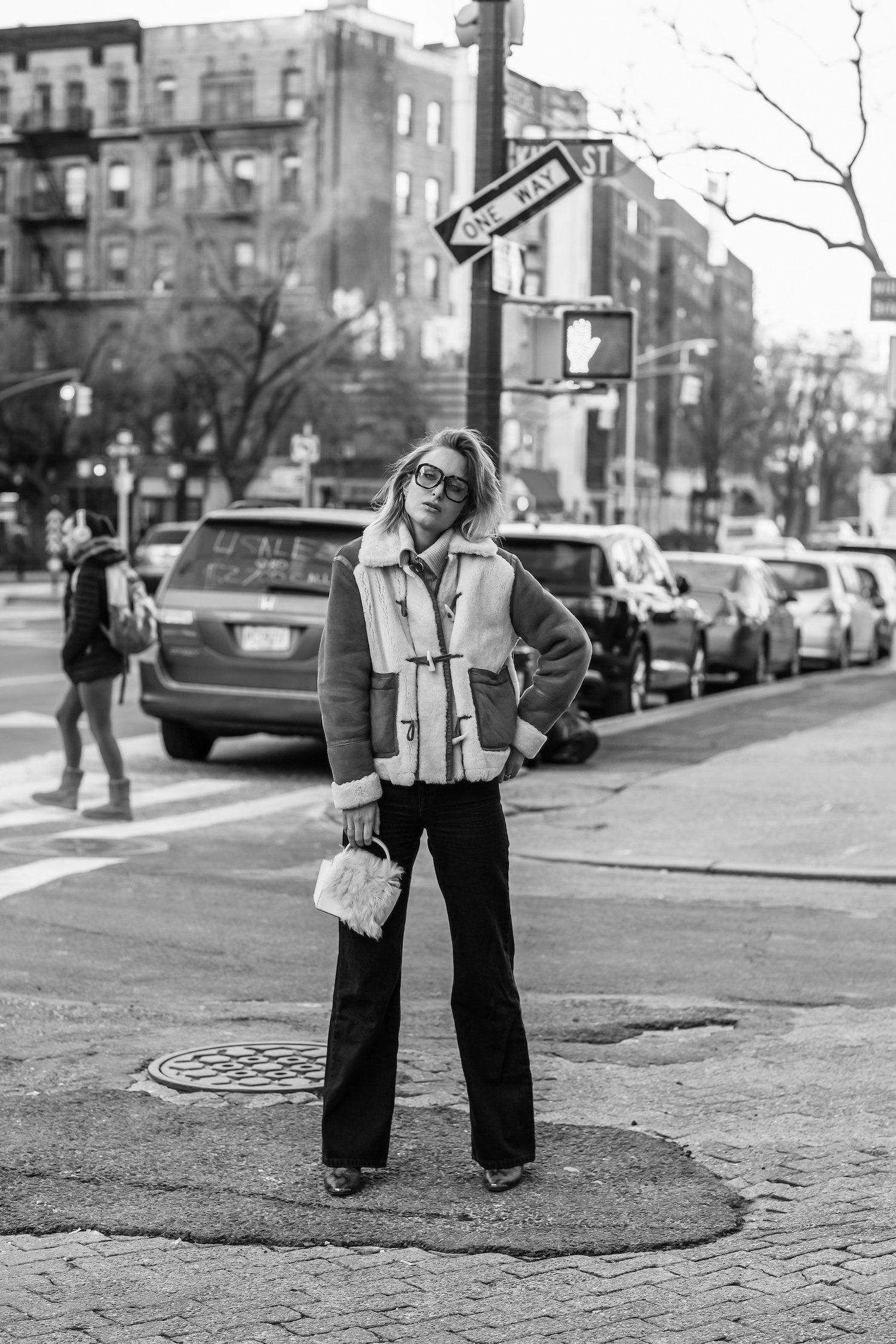 Shearling Coat NY street style