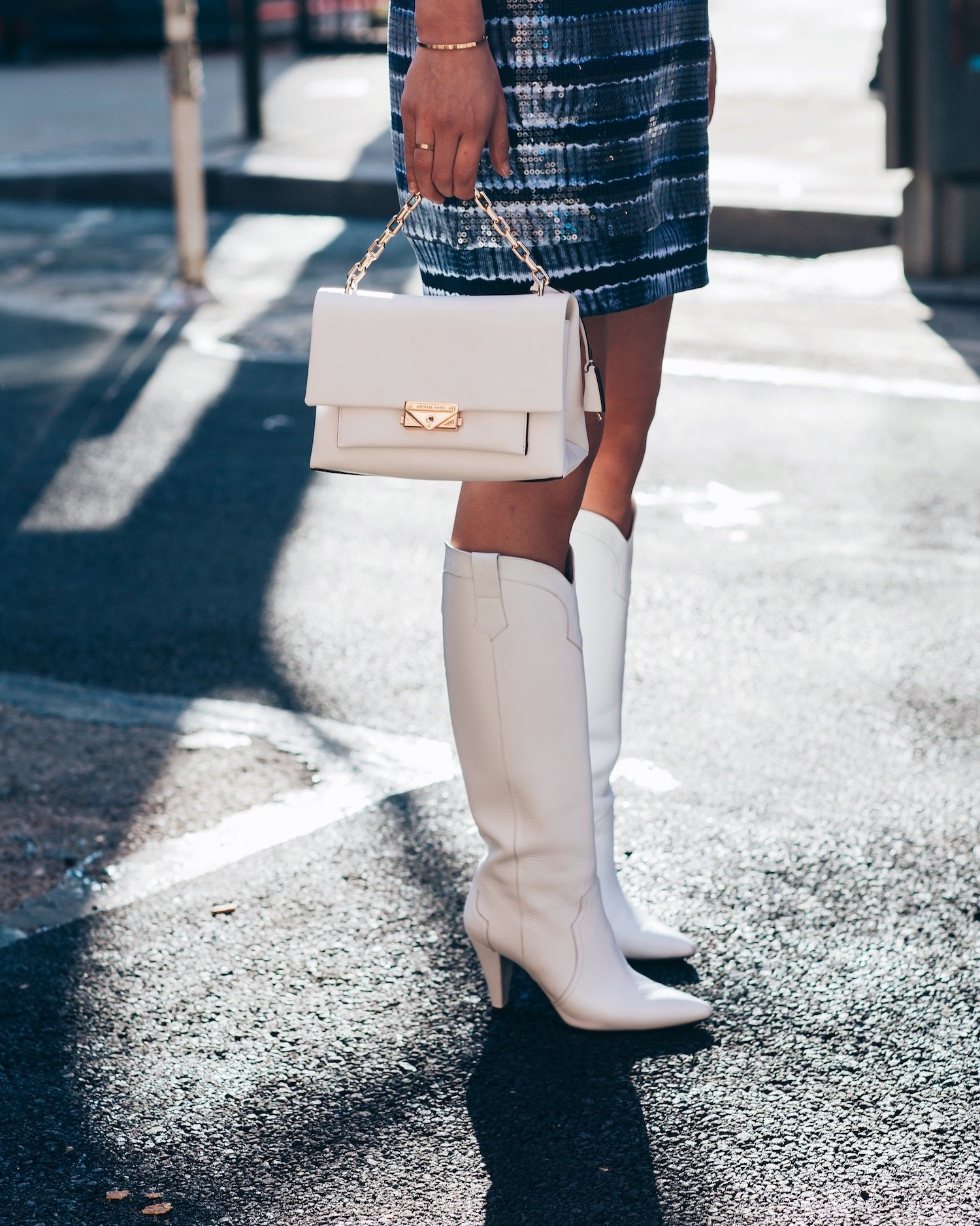 MICHAEL KORS NYC WHITE BOOTS