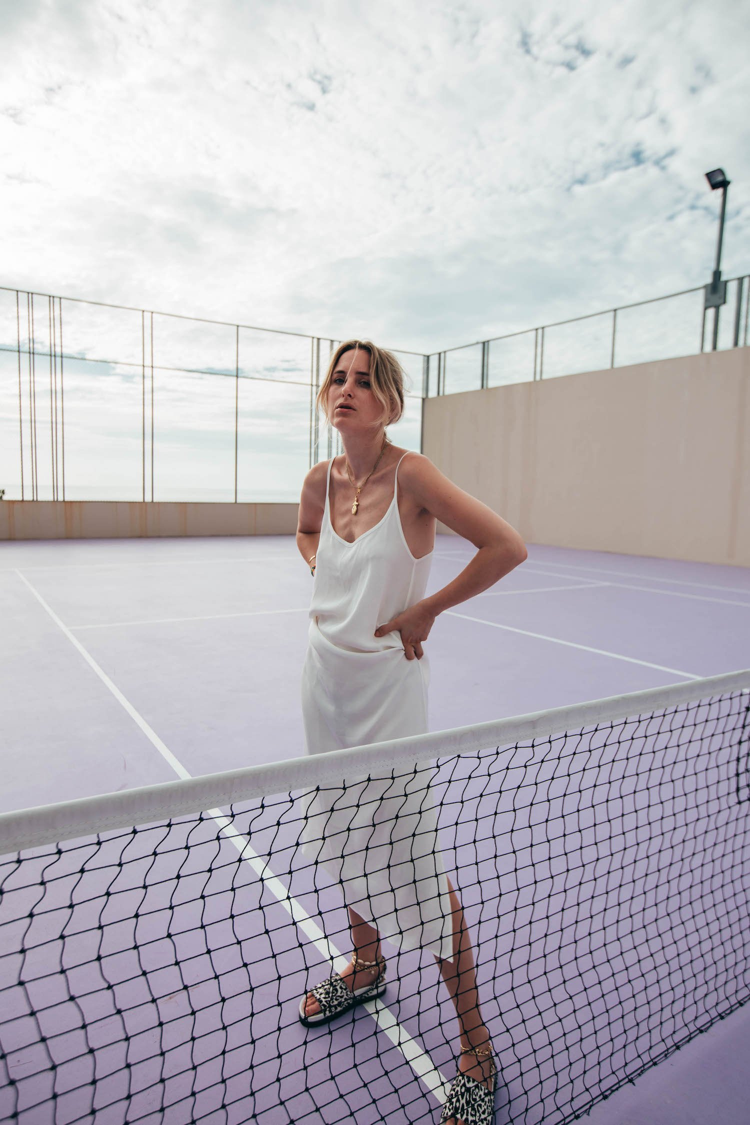 SLIP DRESS TENNIS COURT